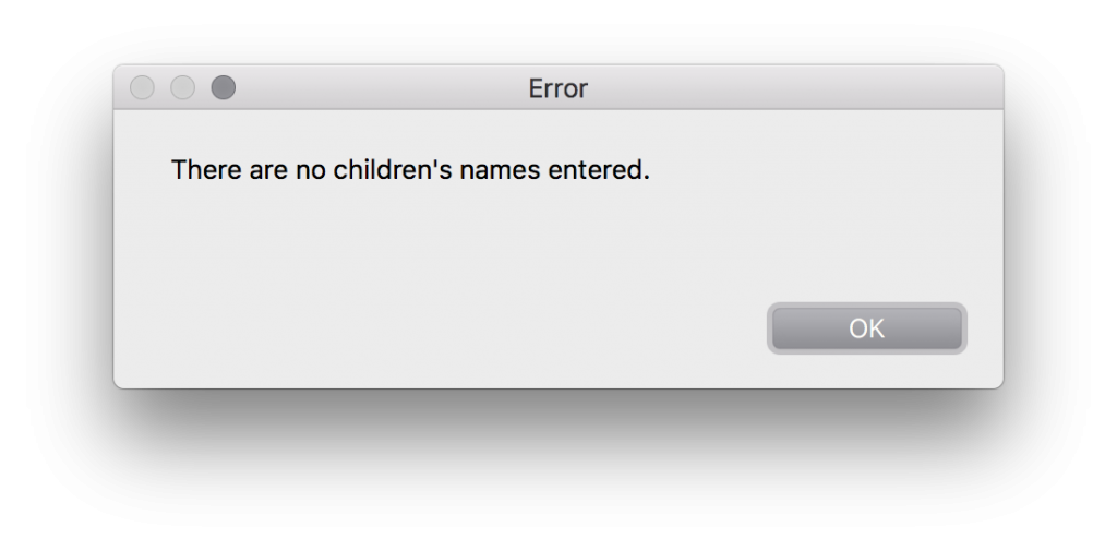 dialog error loop no children
